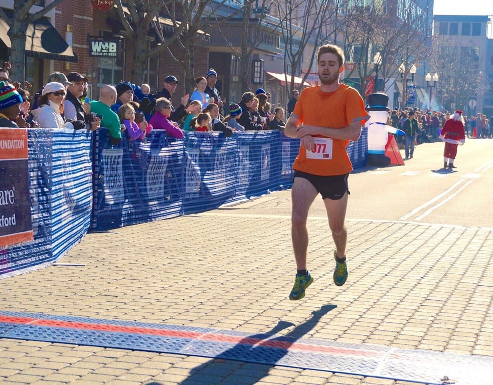 Luke Perron was the second male finisher from West Hartford. HMF Blue Back Mitten Run, West Hartford, Dec. 6, 2015. Photo credit: Ronni Newton