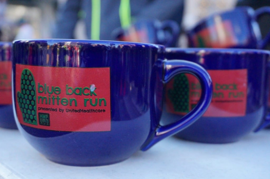 Mugs were handed out as prizes to age group winners. HMF Blue Back Mitten Run, West Hartford, Dec. 6, 2015. Photo credit: Ronni Newton