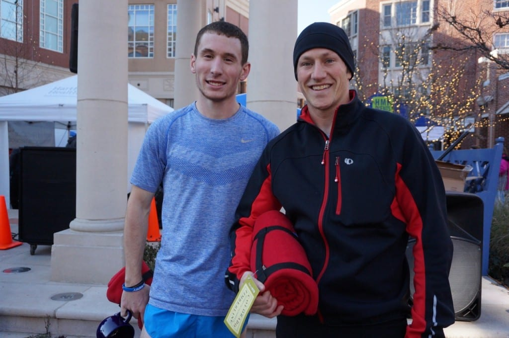 Joe Gioielli (left) of New Britain set the new course record and second place finisher Chris Mayer of Middlefield. HMF Blue Back Mitten Run, West Hartford, Dec. 6, 2015. Photo credit: Ronni Newton