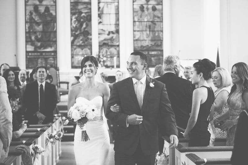The wedding ceremony of Jessica Leone and Michael Parillo took place in the Universalist Church, West Hartford. Photo credit: Alison Lassiter and Julie Morawski