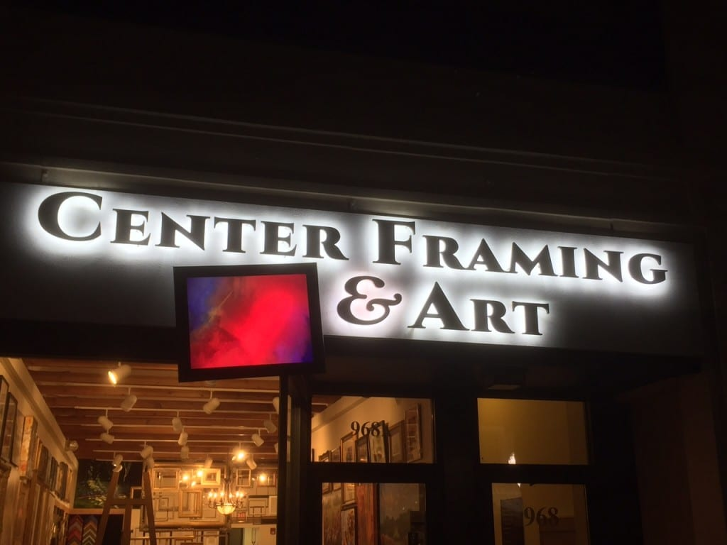Nighttime view of the new Center Framing & Art store at 968 Farmington Ave. Photo courtesy of Lori Chozick