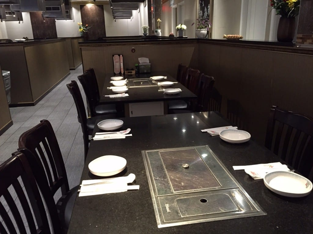Tabletop grills are a feature of many of the tables at Seoul BBQ & Sushi. Photo credit: Ronni Newton