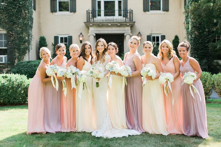 Bridal party with Christina are: Jennifer Wooley, Amanda Caruso, Kelly Peterson, Dana Bastarache, Betsy Falkoff, Christine Zarrella, Maya Tarabishy, Kelly Basi, and Marissa Tabshey. Photo credit: Rebecca Arthurs Photography