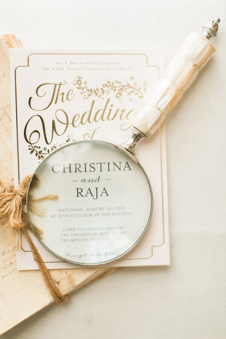 Wedding invitation for Christina DeFilippo and Raja Tarabishy. Photo credit: Rebecca Arthurs Photography