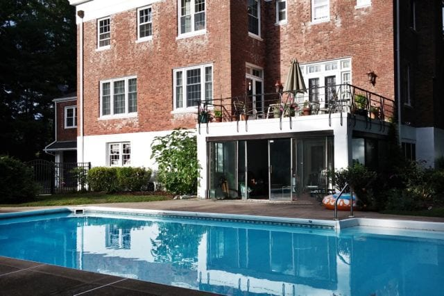 Rear of the house with the pool added by the Barron family. (Source: Allan Mayer)