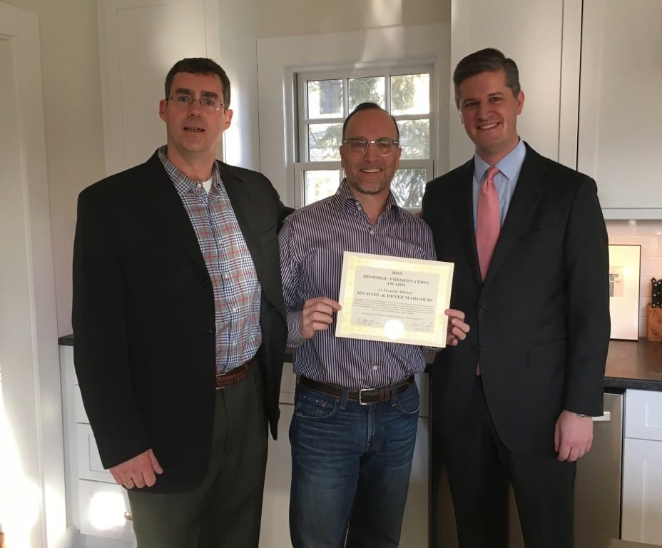Michael Margolis (center) with Mitch Lewis (left) of the West Hartford Historic District Commission and Mayor Scott Slifka. Submitted photo