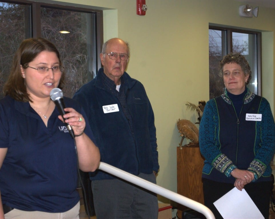From left: Board Member Jennifer Elman Cushman spoke at the welcome reception for new Executive Director Beth Bye at the 4-H Education Center at Auerfarm on Jan. 28, 2016. Robert Lyle, Chair of the Board of Directors for Auerfarm, introduced Bye before she shared her vision for the farm's future. Submitted photo