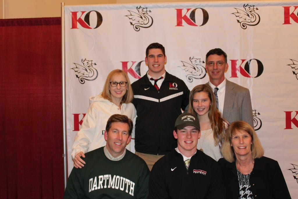 Andrew Lemkuil (front, center) is surrounded by his family at the signing ceremony at Kingswood Oxford on Feb. 4. Photo courtey of the Lemkuil family