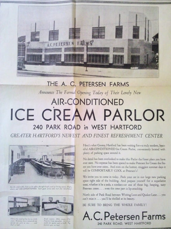 Notice about the opening of AC Petersen Farms' 'air conditioned' ice cream parlor in 1939. Image courtesy of Catherine Denton