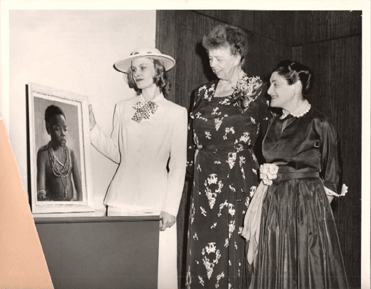 "From left: Along with  friend and supporter Sylvia, Eleanor Roosevelt and Beatrice Fox Auerbach admire a painting when Roosevelt came to Connecticut to tour AuerFarm in Bloomfield. The 4-H Education Center at Auerfarm hosts a free seminar on Thursday, Feb. 25, ""Beatrice & Eleanor - Why Would Eleanor Roosevelt Come to Auerfarm?"" Photo Credit: CT Historical Society"