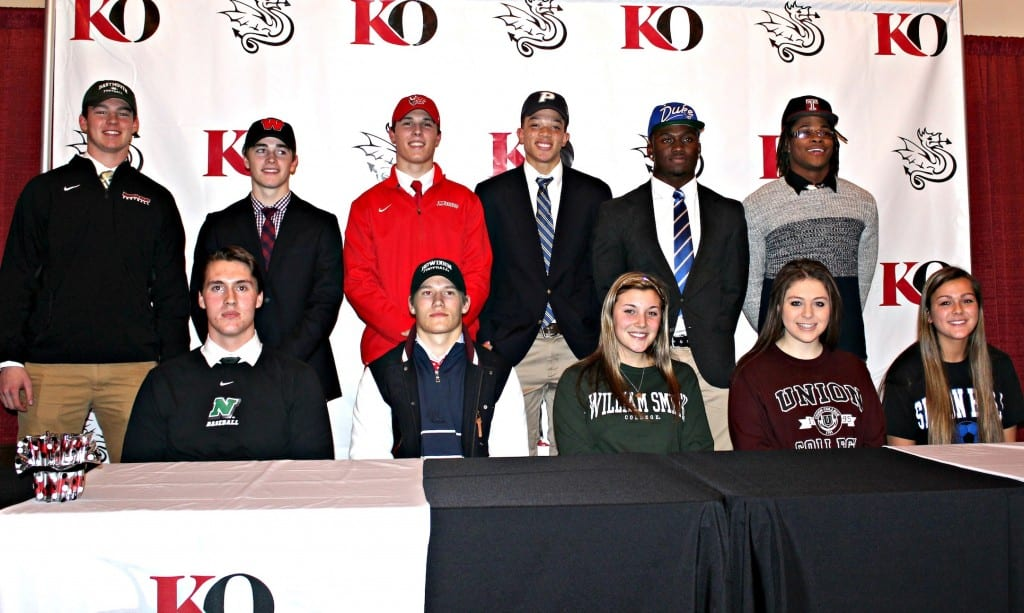 11 seniors from Kingswood Oxford in West Hartford celebrated their plans to play college athletics. Photo credit: Michelle Murphy