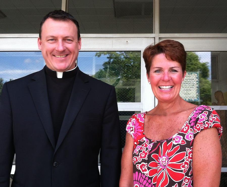 Father Joseph Crowley and Principal Shevon Sweeney Hickey at Saint Brigid School, West Hartford. Photo by Joy Taylor