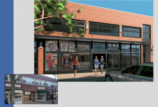 Rendering of updated facade for LaSalle Road. Courtesy Mark McGovern