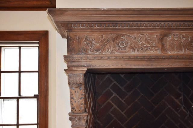 Detail of the stone fireplace surround in the living room. Photo credit: Deb Cohen