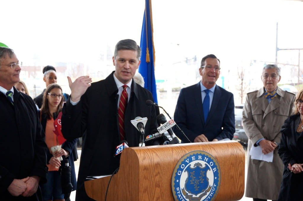 West Hartford Mayor Scott Slifka told the crowd gathered to celebrate CTfastrak's one-year anniversary that despite initial skepticism, he is now a supporter of the program. Photo credit: Ronni Newton