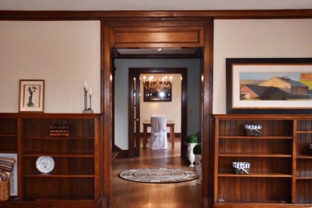 View from the living room, through the foyer, to the dining room. Photo credit: Deb Cohen