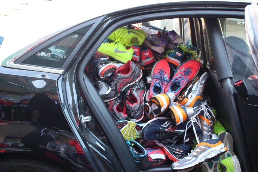 The first police cruiser was filled to overflowing with donated shoes. Courtesy photo