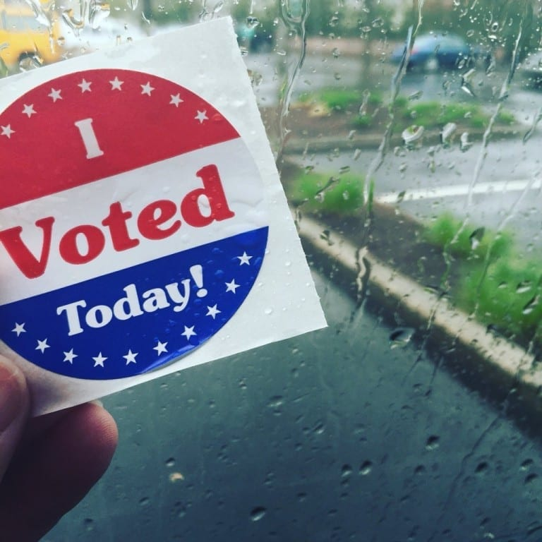 Rain isn't stopping people from voting in the 2016 presidential primary. Photo courtesy of Lindsay Perkins