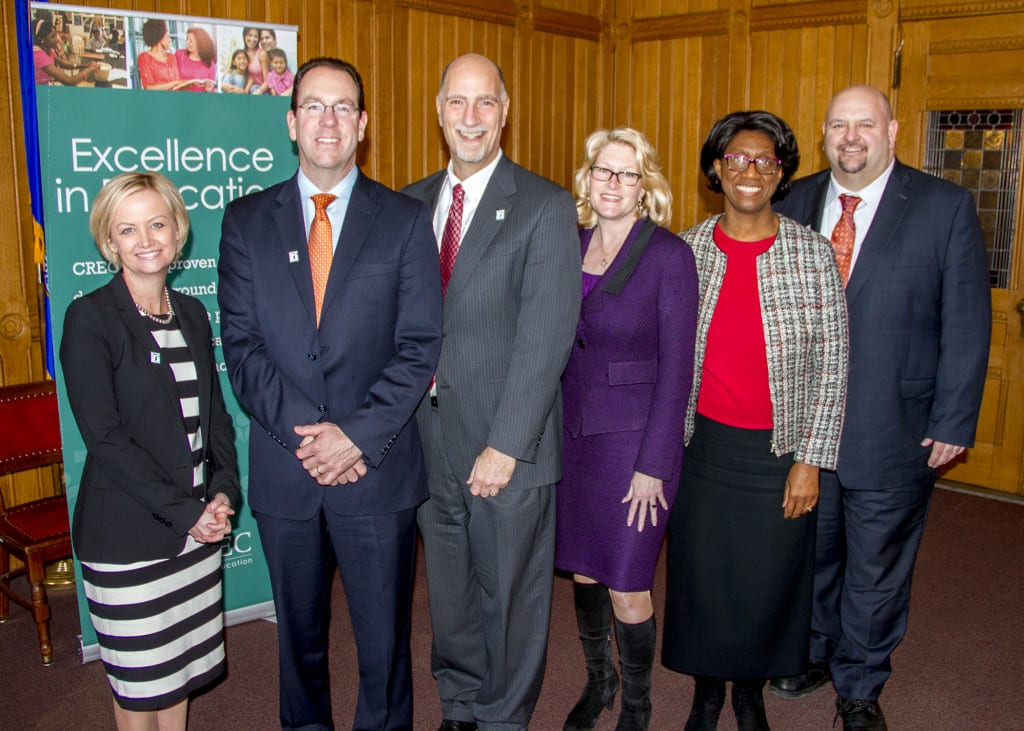 West Hartford Superintendent of Schools Tom Moore (right) with representatives from other districts involved in the founding of Project Concern/Open Choice. Submitted photo