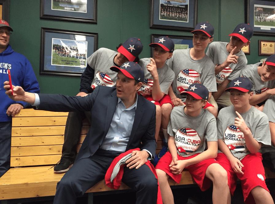 U.S. Sen. Chris Murphy takes a selfie with the entire USA-Cuba Goodwill Tour baseball team. Photo credit: Ronni Newton