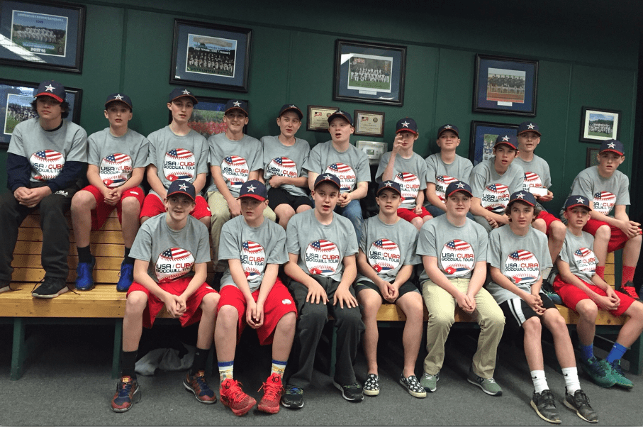 The team of 18 West Hartford boys, ages 13 and 14, have the unique opportunity to launch the USA-Cuba Goodwill Baseball Tour and will be in Cuba from April 9-16. Photo credit: Ronni Newton