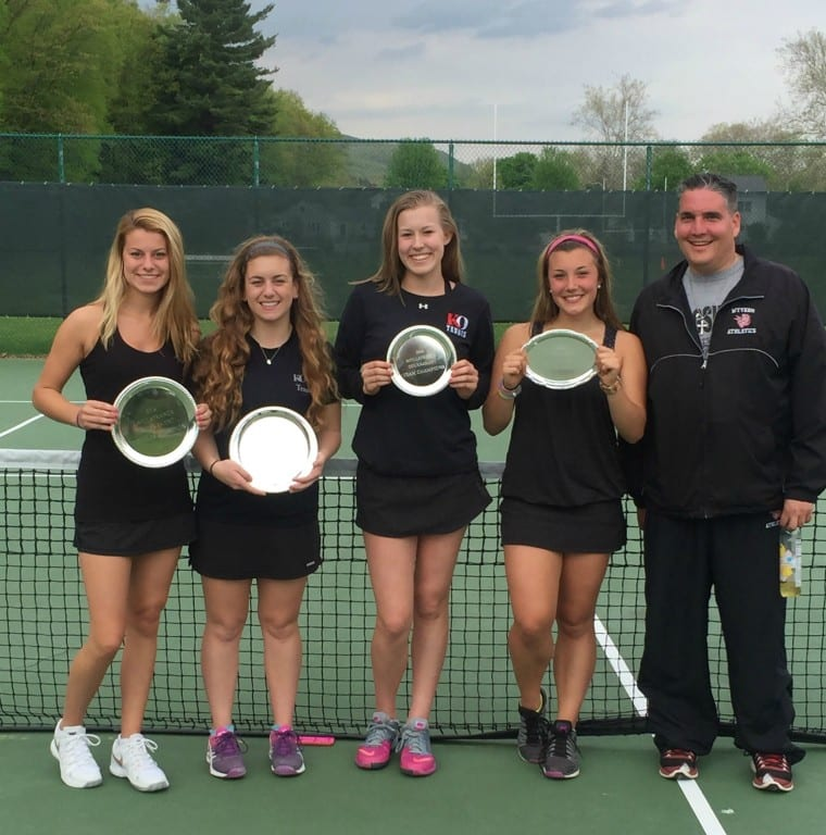 KO's girls tennis team placed first, tied with Andover, in the highly competitive Coe De Villafranca Tournament hosted by Kent School on May 14 (from left) Morgan Risinger, Olivia Shea, Lexi Kubas, Allie Perron, and Coach Ron Garcia. Submitted photo