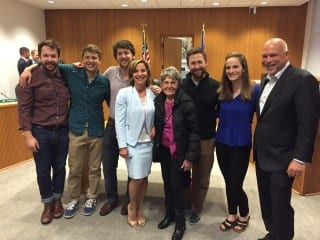 Shari Cantor with her family after the swearing in Monday night at Town Hall. Courtesy photo