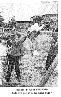 Shari Cantor, as a 6-year-old, being pushed in a swing on the King Philip playground by a Project Concern student. Time Magazine photo courtesy of Shari Cantor