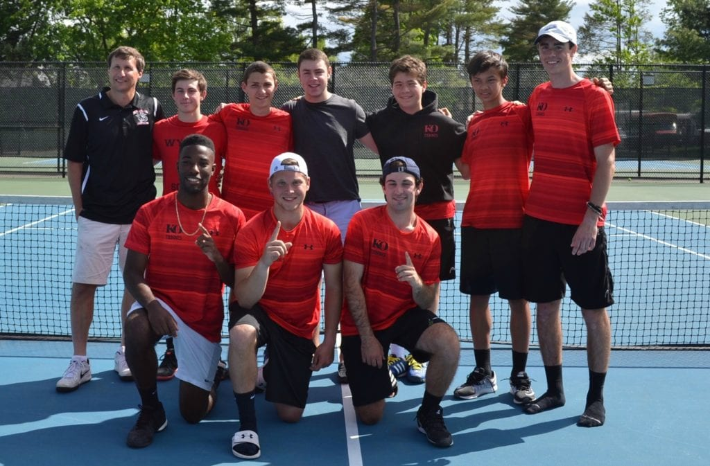 The KO Boys' Tennis team won its first-ever New England Championship on May 22 by beating Taft, 4-3, in a nailbiter clinched by Luke Riemann '19. Photo credit: Jen Albanesi