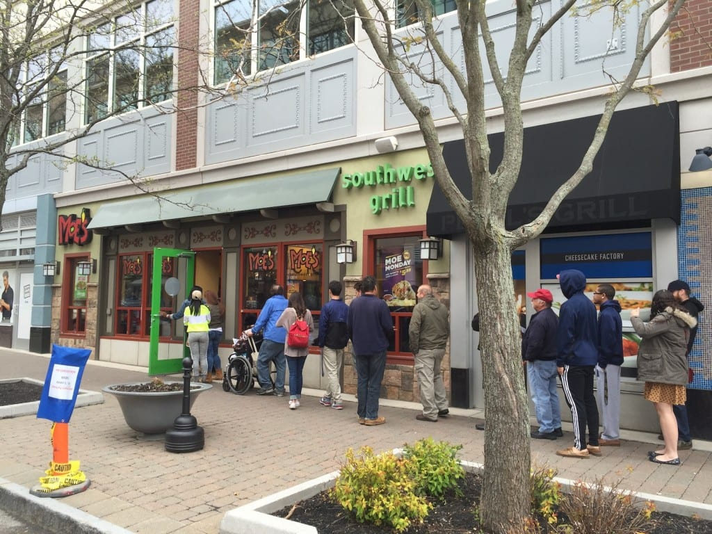 The line was out the door on Moe's last day in Blue Back Square. Photo courtesy of John Lyons