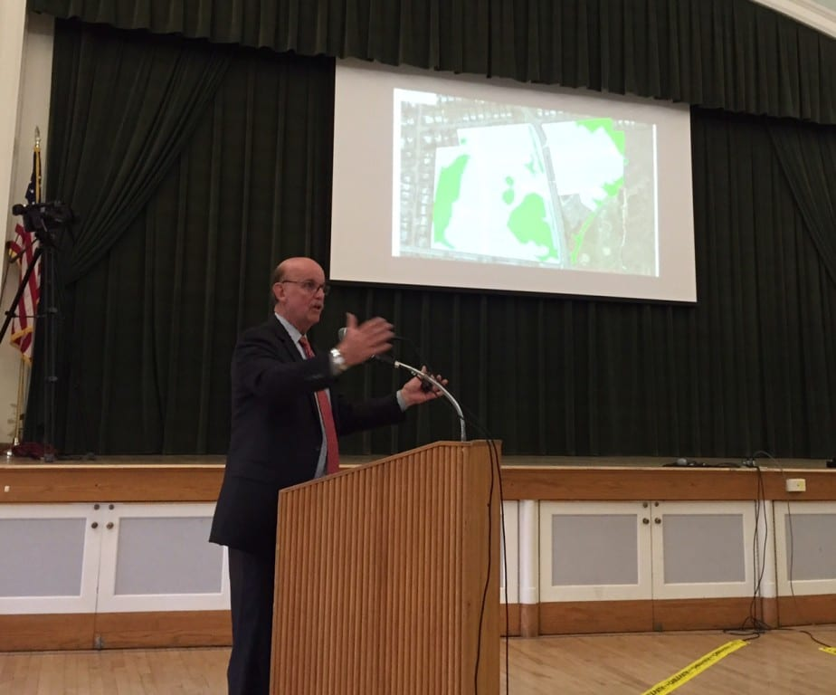 Town Manager Ron Van Winkle spoke to a standing-room-only audience at West Hartford Town Hall regarding the purchase of the UConn property. Photo credit: Ronni Newton