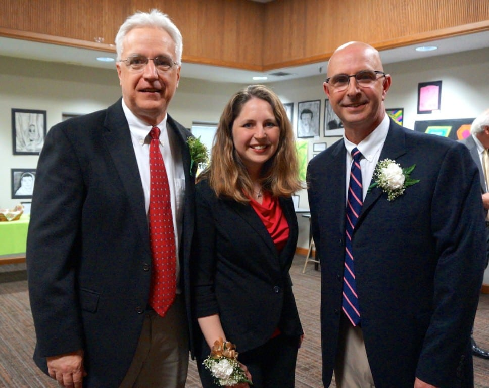 From left: Steve O'Brien, Jackie Corricelli, Eric Fisher are West Hartford's 2016 Teacher of the Year finalists. Photo credit: Ronni Newton