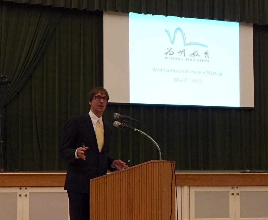 Tim DiScipio, CEO of Weiming Education Group USA, gave a presentation to West Hartford residents. Photo credit: Ronni Newton