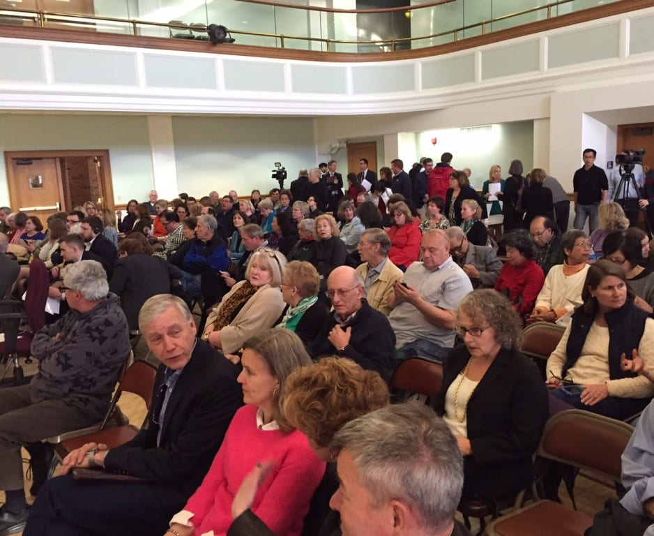 A capacity crowd filled the West Hartford Town Hall Auditorium to listen, learn, and weigh in about the UConn property purchase. Photo credit: Ronni Newton