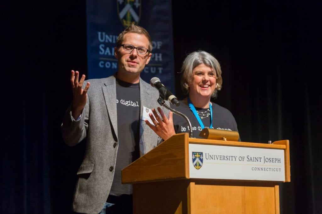 David Ryan Polgar and Dr. Marialice B.F.X Curran at the inaugural Digital Citizenship Summit in West Hartford in October 2015. Courtesy photo
