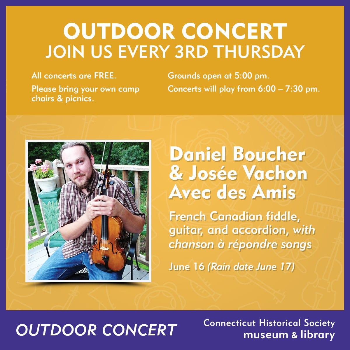 Outdoor Concert Series: Daniel Boucher and Josée Vachon avec des