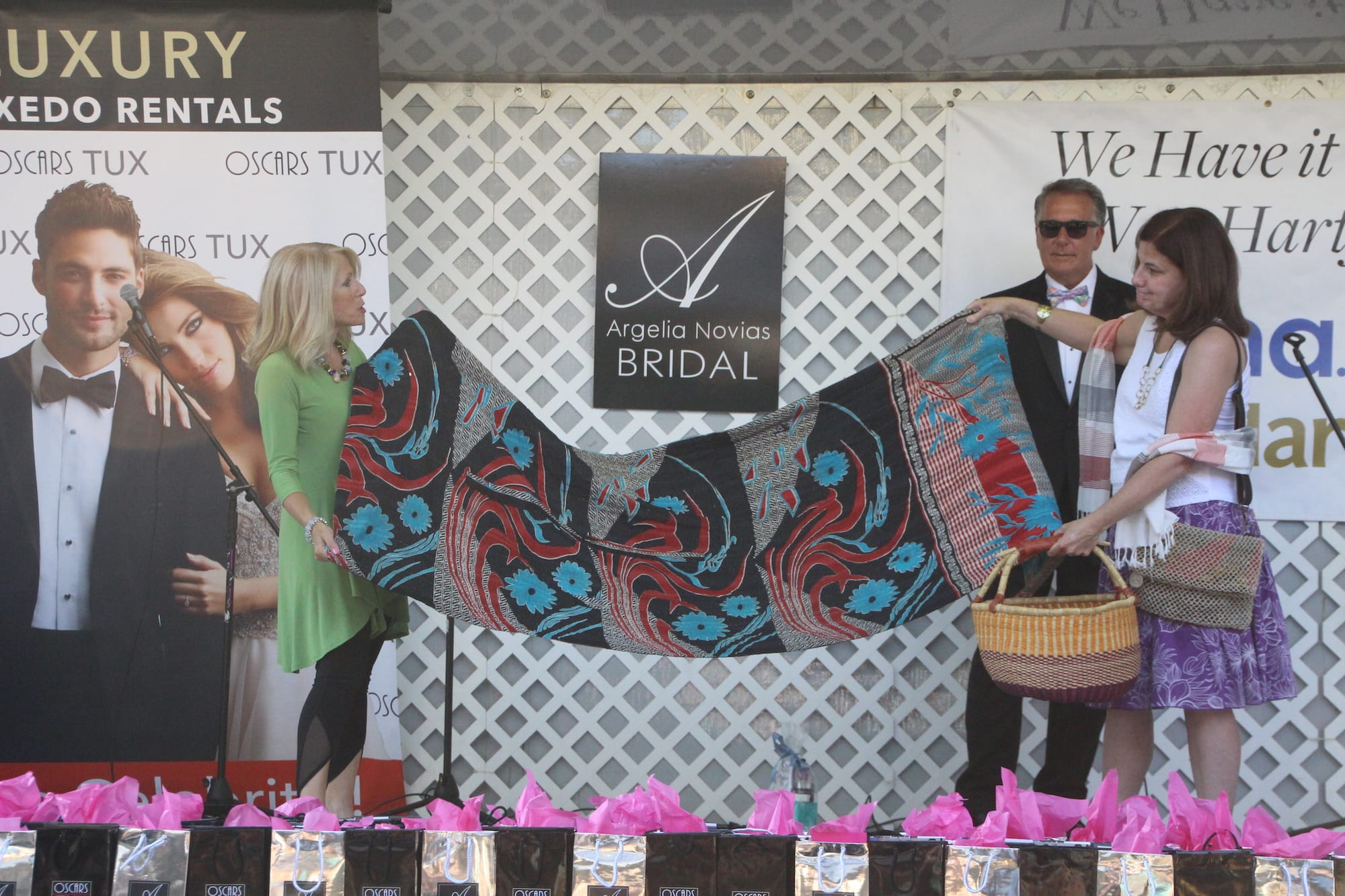 Fashion Show kicks off the Sale Days in West Hartford Center on the Town of West Hartford Showmobile stage on June 23, 2016. Featured are items from Ten Thousand Villages. Photo credit:Dylan Carneiro