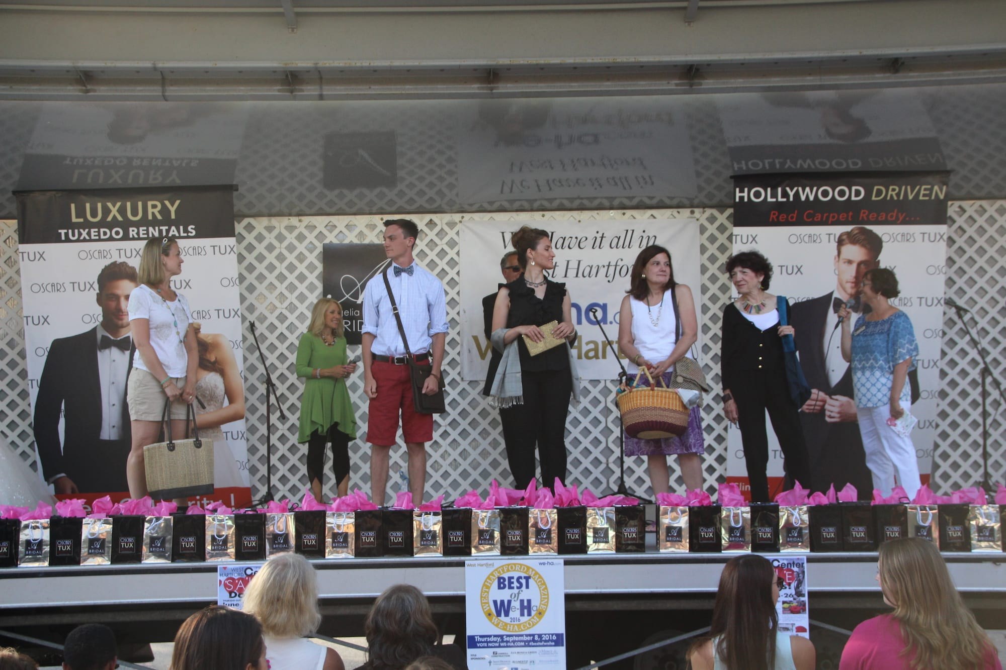 Fashion Show kicks off the Sale Days in West Hartford Center on the Town of West Hartford Showmobile stage on June 23, 2016, featuring Ten Thousand Villages. Photo credit:Dylan Carneiro