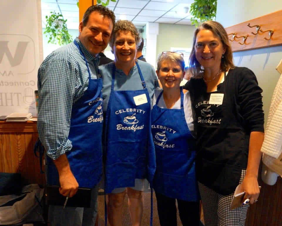 From left: Playhouse on Park co-founder and co-artistic director Sean Harris, State Sen. Beth Bye, Town Council member Beth Kerrigan, Dir. of Human and Leisure Services Helen Rubino-Turco all worked as servers. Celebrity Breakfast. June 14, 2016. Photo credit: Ronni Newton