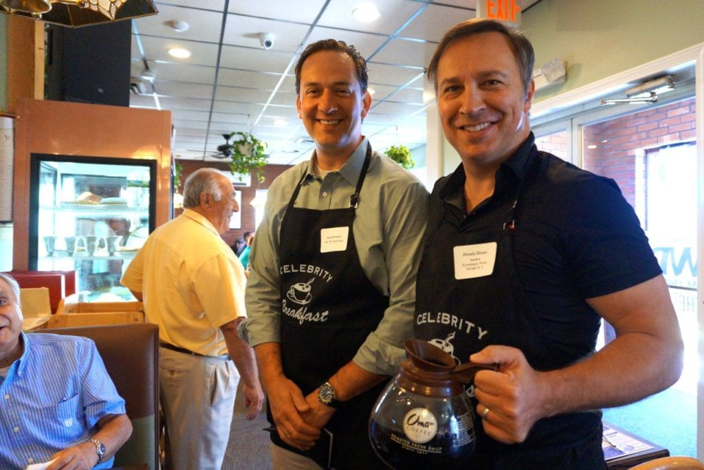 News anchors Brad Drazen (NBC Connecticut) and Dennis House (WFSB) work together as celebrity servers. Celebrity Breakfast. June 14, 2016. Photo credit: Ronni Newton