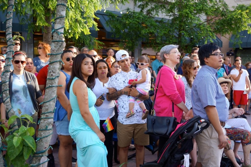 The crowd sings 'We Shall Overcome.' Vigil, June 15, 2016. Photo credit: Ronni Newton