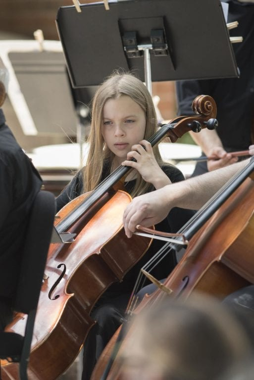 11-year-old Maggie Slap had the opportunity to join her mother, Alex, playing in the WHSO's picnic concert on June 12. Photo credit: Corwyn Miyagishima