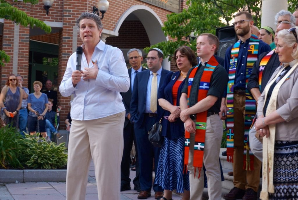 State Sen. Beth Bye speaks to the crowd in Blue Back Square. Vigil, June 15, 2016. Photo credit: Ronni Newton