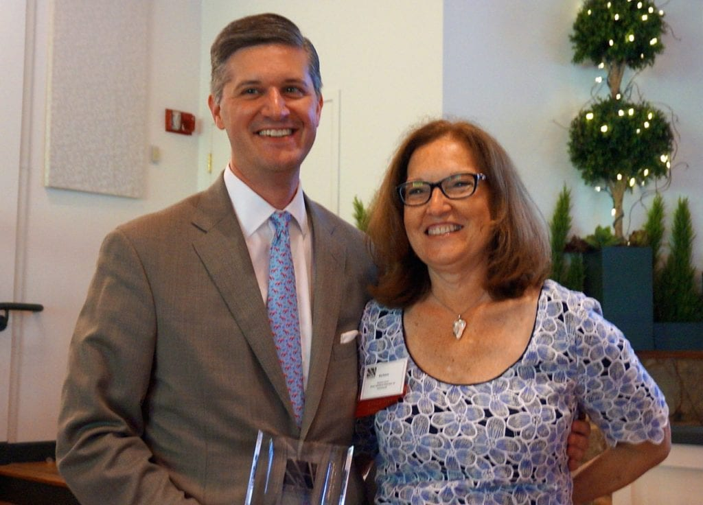 Scott Slifka, who received the Noah Webster Award, with West Hartford Chamber of Commerce Executive Director Barbara Lerner. Photo credit: Ronni Newton