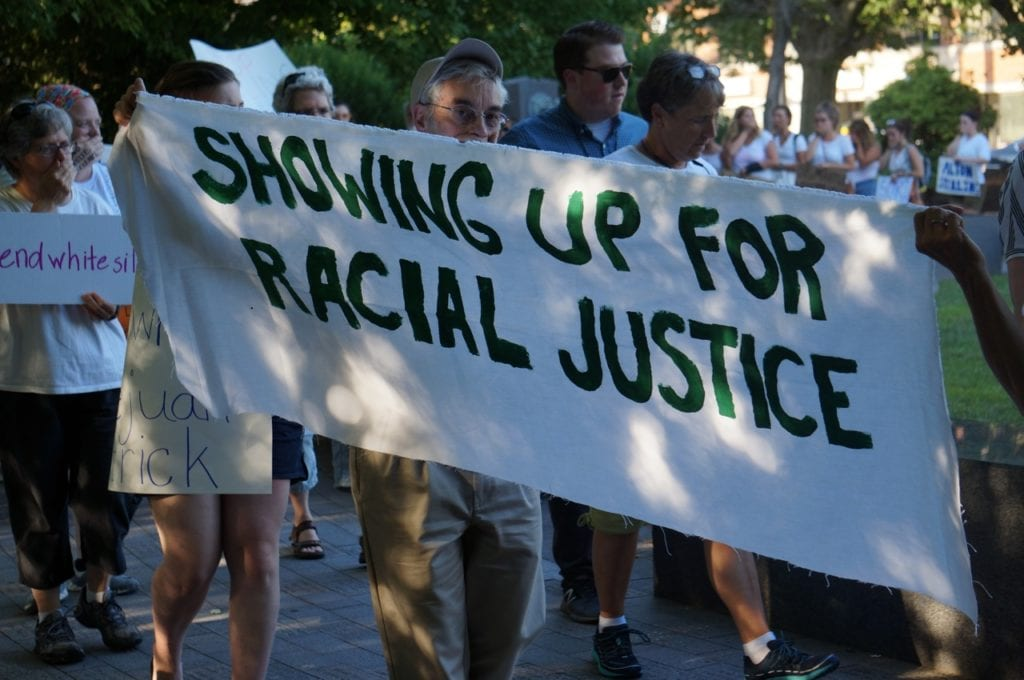 SURJ 'End White Silence' demonstration in West Hartford. July 21, 2016. Photo credit: Ronni Newton