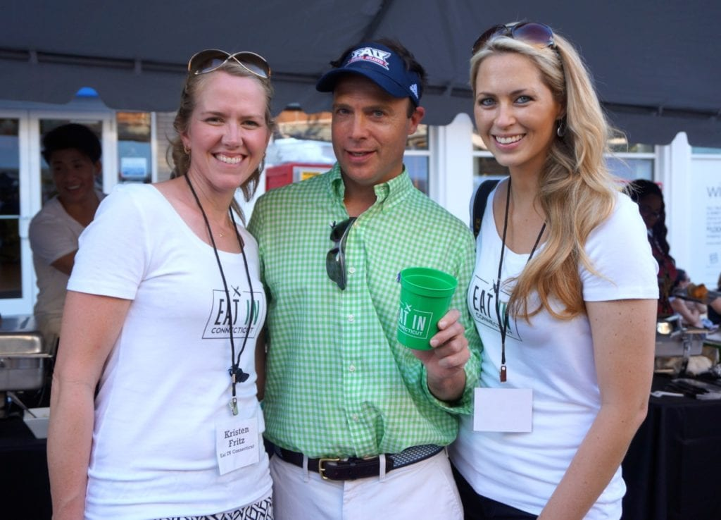 FOX 61's Jimmy Altman (center) with Eat in Connecticut's Kristen Fritz (left) and Cheyney Barrieau. Taste of Blue Back Square and The Center. July 27, 2016. Photo credit: Ronni Newton