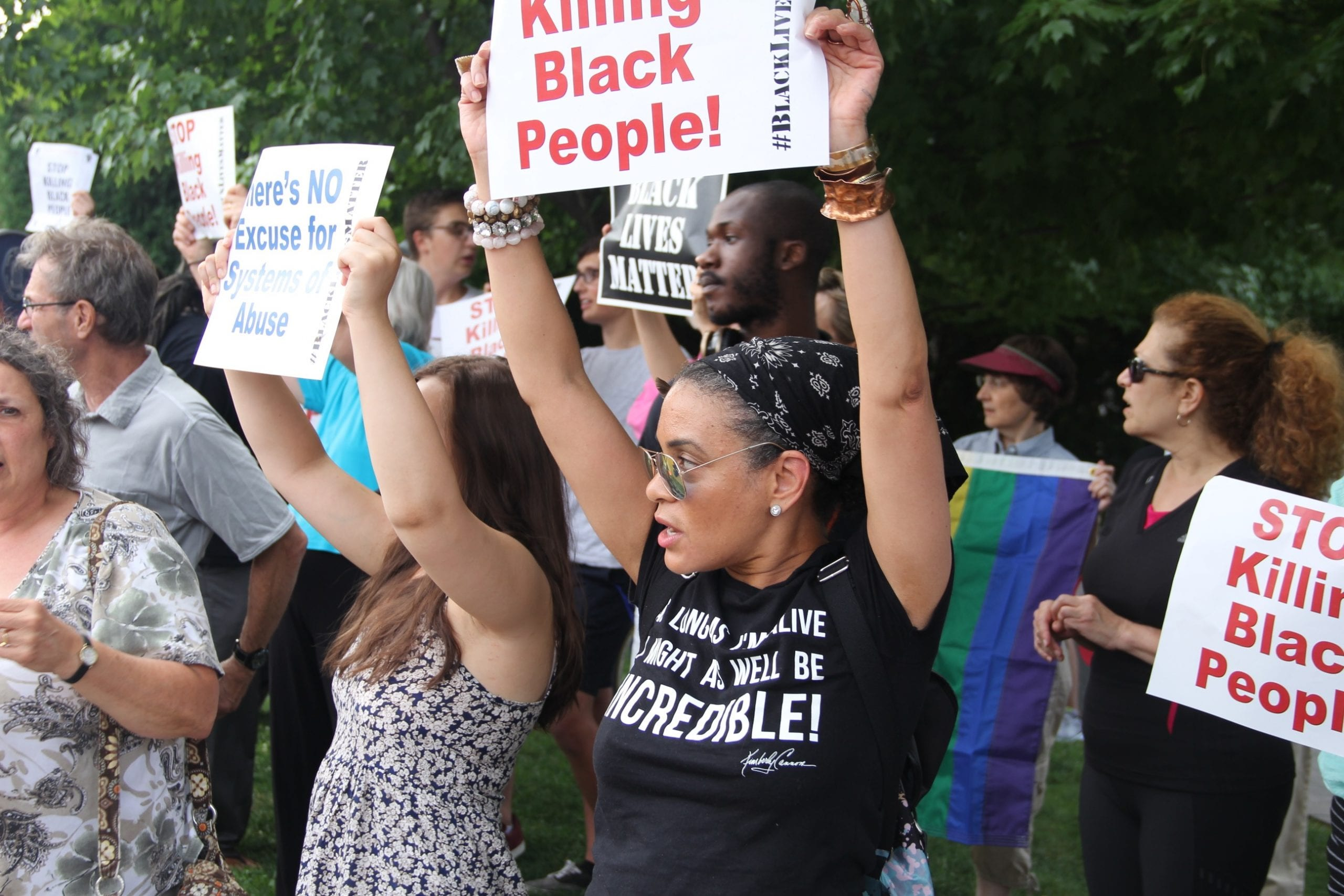 Peaceful participants at a Black Lives Matter rally in West Hartford. Photo credit: Amy B. Melvin
