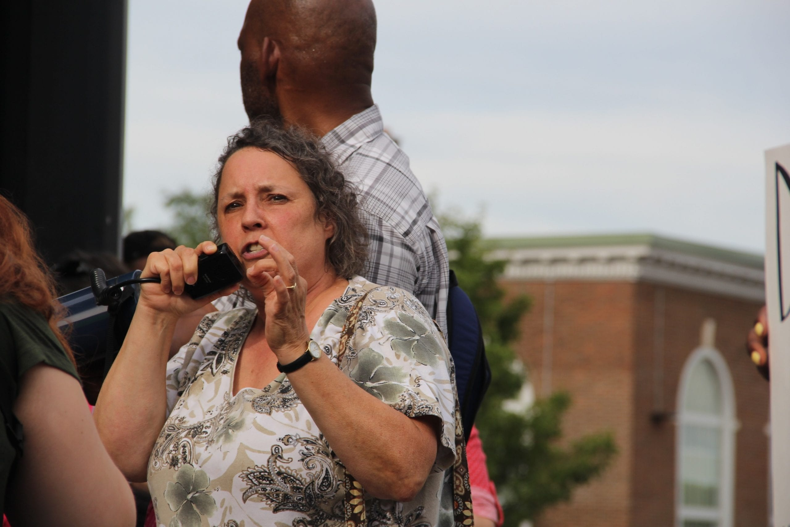 Robin McHaelen spoke during the Black Lives Matter rally in West Hartford. Photo credit: Amy B. Melvin