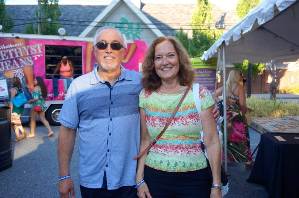 Chamber of Commerce Executive Director Barbara Lerner and her husband Hank enjoy the event. Taste of Blue Back Square and The Center. July 27, 2016. Photo credit: Ronni Newton