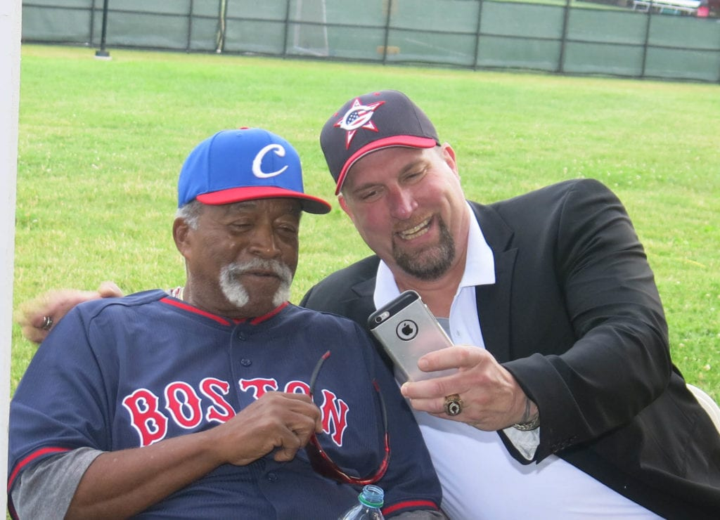 Luis Tiant and Rob DIbble take a selfie at the reception after the opening ceremony on July 11. Photo credit: Gary Cohen